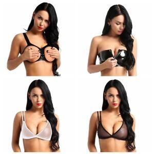 416b1de60c39f Sexy Women s Wet Look Mesh Bra Tops Push Up Crop Bra Bralette ...