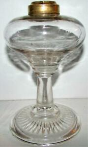 Antique-Kerosene-or-Oil-Glass-Stand-Pedestal-Lamp-with-Prism-Band-Under-Base