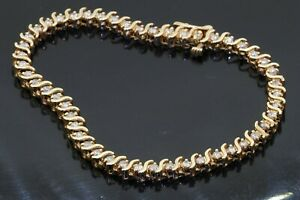 14K yellow gold elegant 2.50CT VS diamond tennis line bracelet
