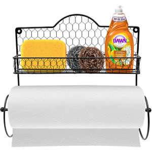 Wall-Mounted-Rustic-Gray-Metal-Kitchen-Spice-Rack-amp-Paper-Towel-Holder