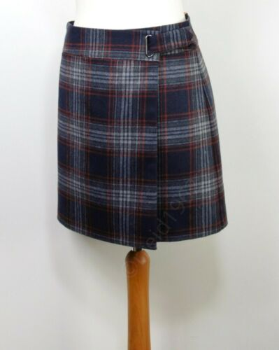 """~ NAVY Mix CHECK 21/"""" Length M/&S Wrap A-LINE MINI SKIRT with WOOL ~ Size 8"""