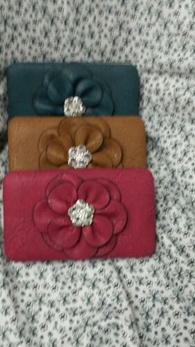 Womens Large Leather  Wallet With A Flower Rhinestone
