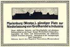Marienburg Westpreussen Eigenwerbung 1922 Reklame Silhouette Malbork Magistrat