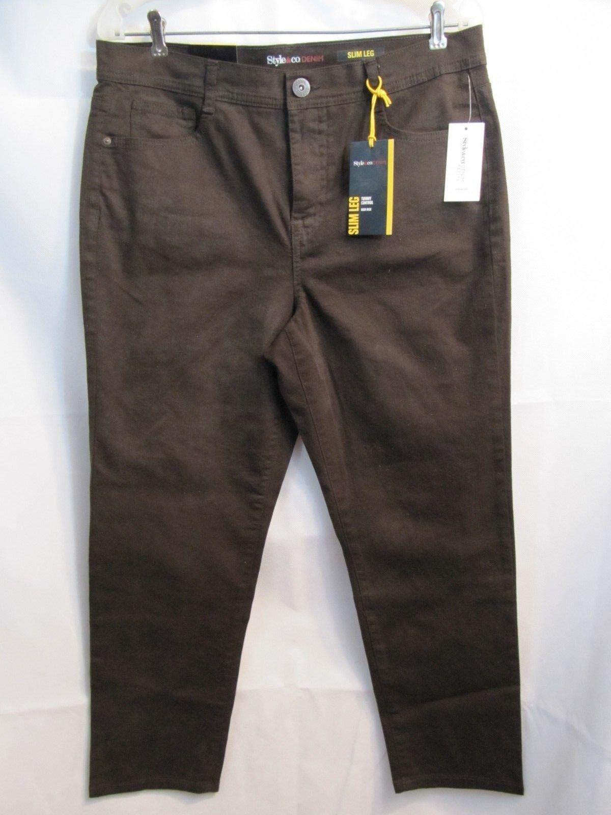 Style & Co Denim Brown Espresso Bean Jeans Slim Leg High Rise Size 14P Short NWT