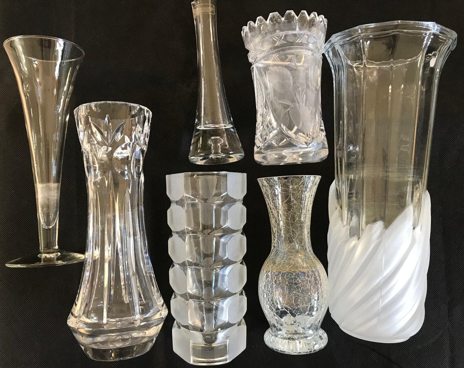 Colección de vidrio de edad cristal jarrones div tamaños & Designs 7 floreros 13-26,5cm