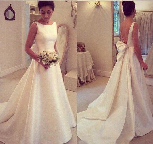 Elegant Country A Line Wedding Dress Sleeveless Beach Satin Bridal Gown Backless