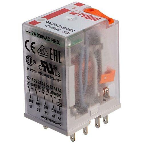 Relpol R4N-2014-23-5024-WTL Industrial 24V AC 7A 4PDT Plug-In Relay