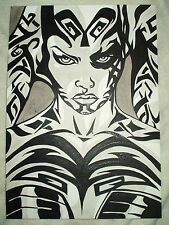 Paper Painting Star Wars Darth Talon Serious B&W Art 16x12 inch Acrylic