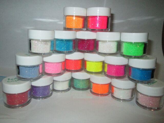 Iridescent Shimmer Crystal & Neon Ultra Fine .008 Glitter in jars -2 tsp per jar
