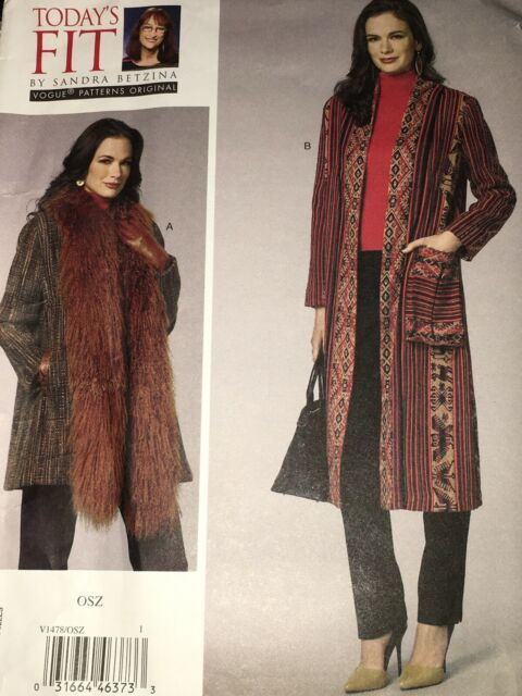 All Sizes VOGUE Coat Sewing Pattern Vogue V1097 SANDRA BETZINA Today/'s Fit Out of Print
