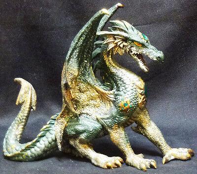 "DRAGON HAUNCH  Green Jeweled Dragon    Statue   H8"" x W10"""