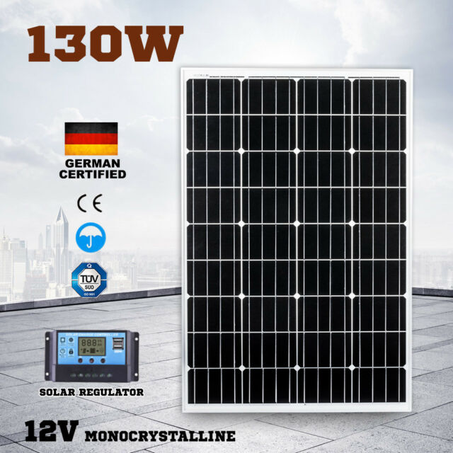 12V 130W Solar Panel Kit Regulator Generator Camping Power Battery Mono 130watt