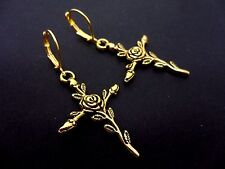 A PAIR OF GOLD COLOUR FLOWER CROSS LEVERBACK EARRINGS. NEW.