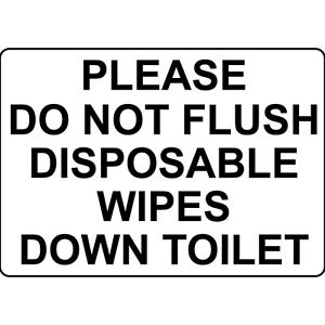 Please do not flush disposable wipes down toilet aluminum metal sign ebay for Do not flush signs for bathroom
