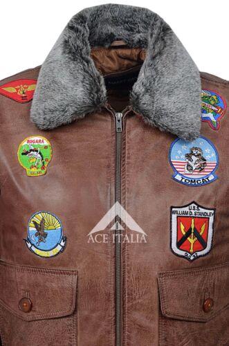 /'TOP GUN TAN/' Men/'s Jet Fighter Bomber Navy Air Force Pilot Leather Jacket