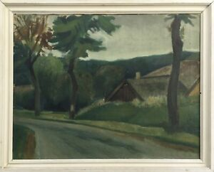 Country-Road-with-House-Anonymous-Denmark-Scandinavia-Midcentury-ART-65-x-81-cm