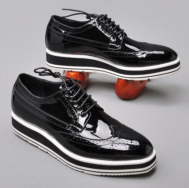 Mens Lace Up Brogue Carved Wing Tip Patent Leather Platform Wedding Punk shoes