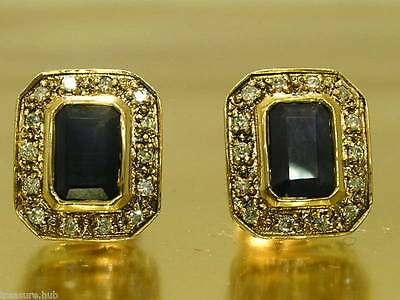 CE305- Stunning Genuine 9ct Gold NATURAL Sapphire & Diamond Stud Earrings
