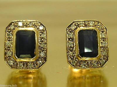 E119 Genuine 9ct Gold NATURAL Emerald-cut Sapphire & Diamond Stud Earrings