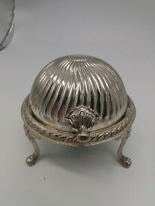 Vintage-Silver-Plated-Steel-Globe-Butter-Dish-MADE-IN-HONG-KONG