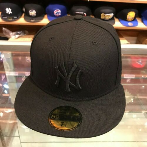 New Era 59FIFTY New York Yankees Fitted Hat Cap All Black//Grey Bottom
