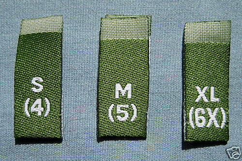 ,XL M 6 4 6X 5 100 WOVEN LABEL GREEN SIZE TAG S L