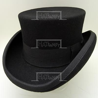 New Original Wool Felt Black Fedora Trilby Hat XS S M L XL