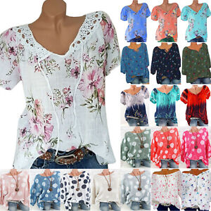 Women-Boho-Floral-Short-Sleeve-Loose-Top-T-Shirt-Blouse-Summer-Casual-Plus-Size