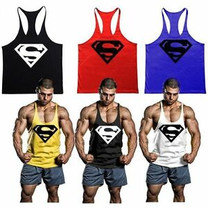 a76059d893dc30 Mens Superman Gym Singlet Tank Top Tee Stringer Bodybuilding Muscle ...