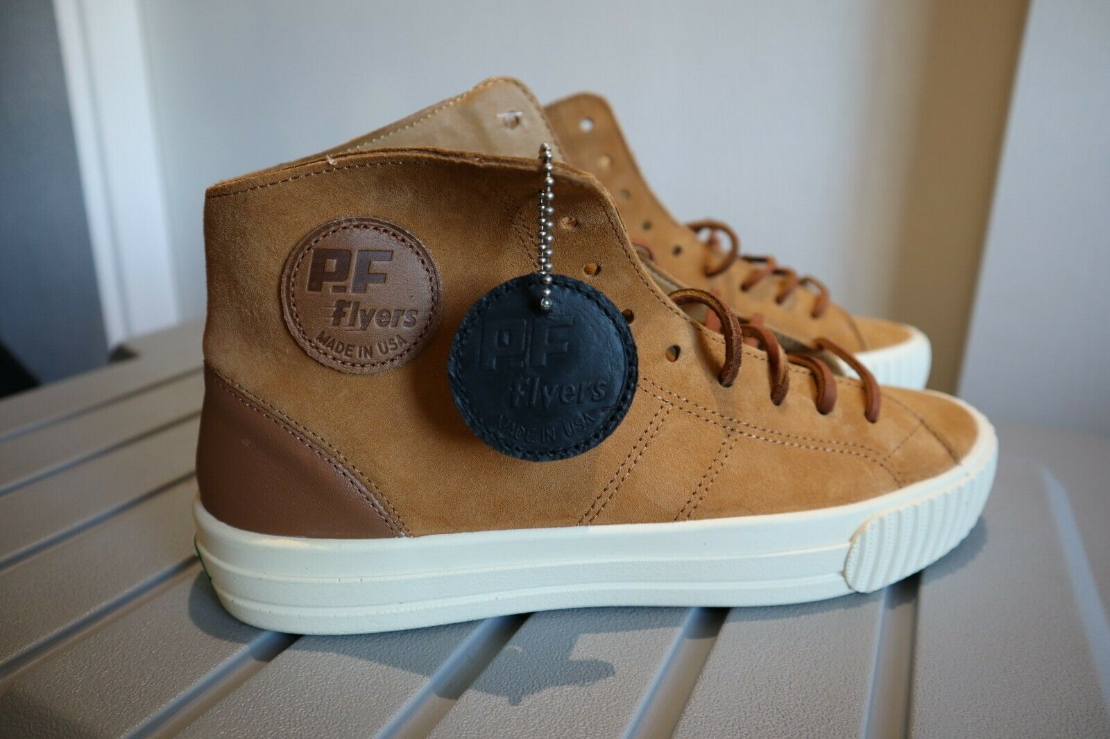 PF Flyers Center Hi shoes Made in USA Nutmeg White Mens size 7.5