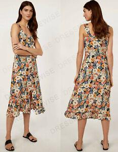 Lager Neu Daisy Blumendruck Button Through Cami Midi Kleid