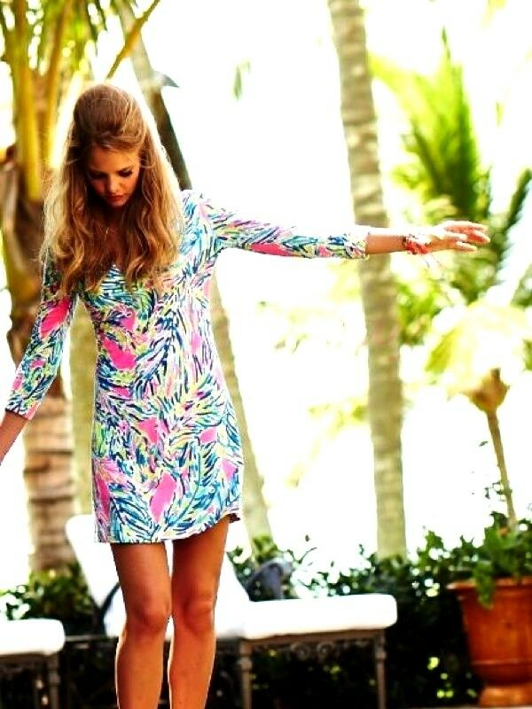 NWT LILLY PULITZER ROSSMORE DRESS DRESS MULTI PALM READER XXS,XS,S SOLD OUT HTF