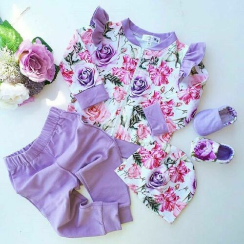 Kid Baby Girl Rose Floral Clothes Ruffle Top T-Shirt Pants Legging Outfit Autumn