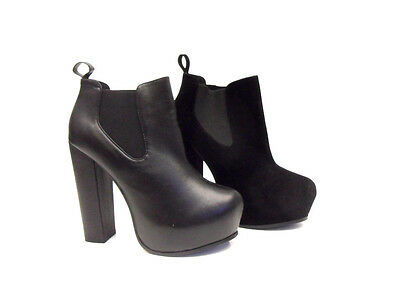 New Womens Ladies High Heel Block Concealed Platform Chelsea Ankle Boots Shoes