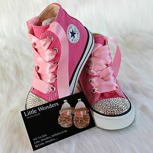 a0ad72056a37 Image is loading Swarovski-Rhinestone-Baby-Girl-Toddler-Pink-Converse-Shoes