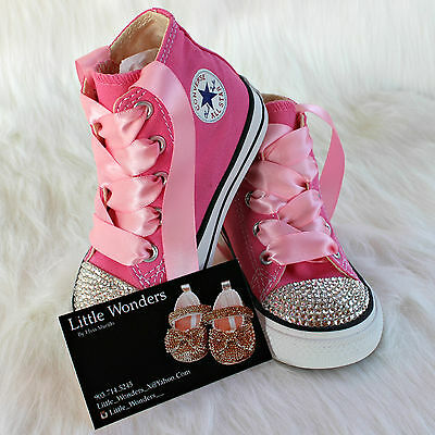 Swarovski Rhinestone And Pearl Baby Girl Toddler White Converse Shoes