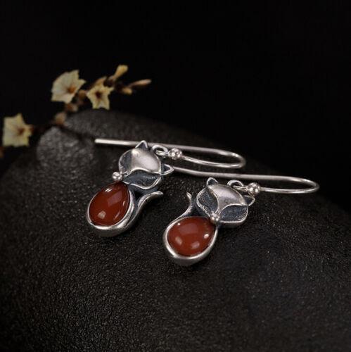 I02 Ohrring Silber 925 Fuchs mit einem Tropfen aus rotem Achat