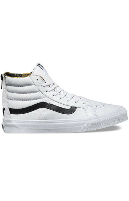 VANS Sk8 Hi Slim Zip Plaid Flannel White Size Men 8.5 Women 10