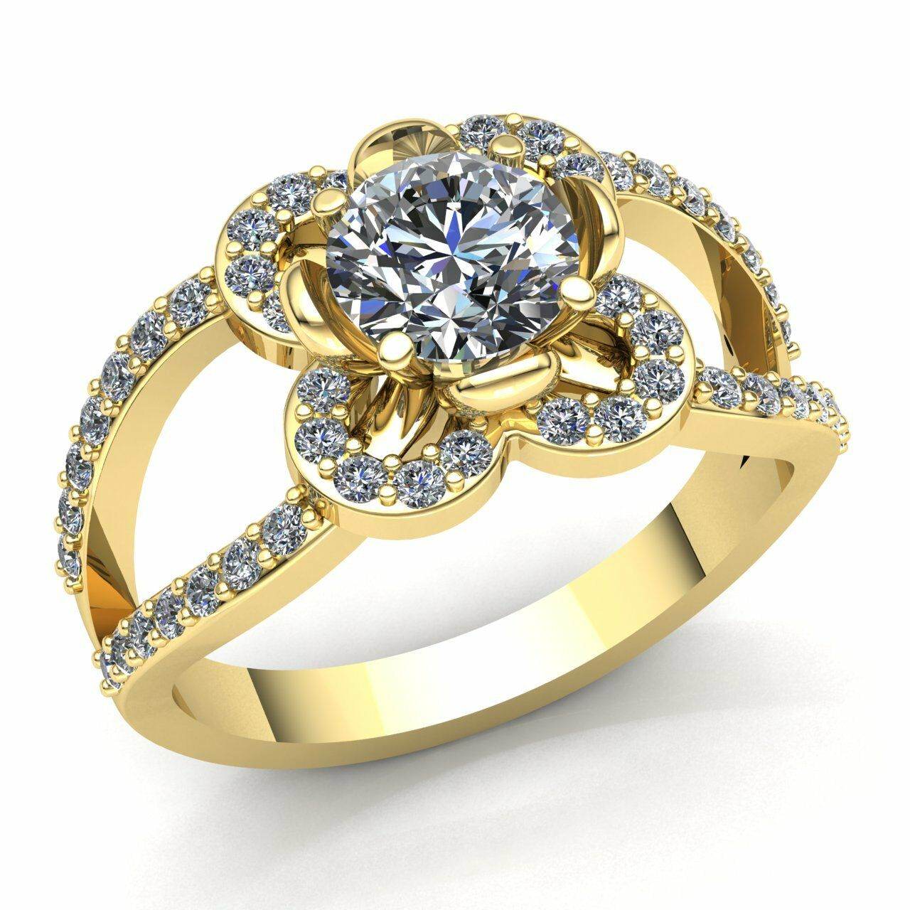 0.75ctw Round Cut Diamond Ladies Halo Solitaire Engagement Ring 10K gold