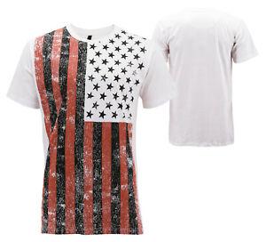 Men's USA American Flag Casual Cotton Shirt Summer Beach Patriotic T-shirt