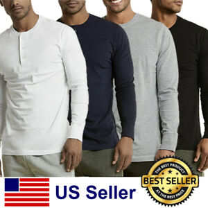 New-Mens-Henley-Shirt-T-shirts-shirts-Long-Sleeve-Cotton-Pullover-Comfy-Button