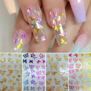 3D-Butterfly-Nail-Foil-Stickers-Transfer-Colorful-DIY-Art-Manicure-Decoration-UK