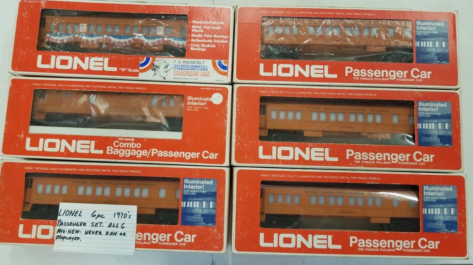 Lionel 6 vagones de pasajeros el camino de Milwaukee 9501, 9504, 9505, 9506, 9511, 9527