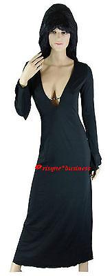 Morticia Addams Elvira Witch Vampire Vampiress Fancy Dress Costume - M 8 10 12