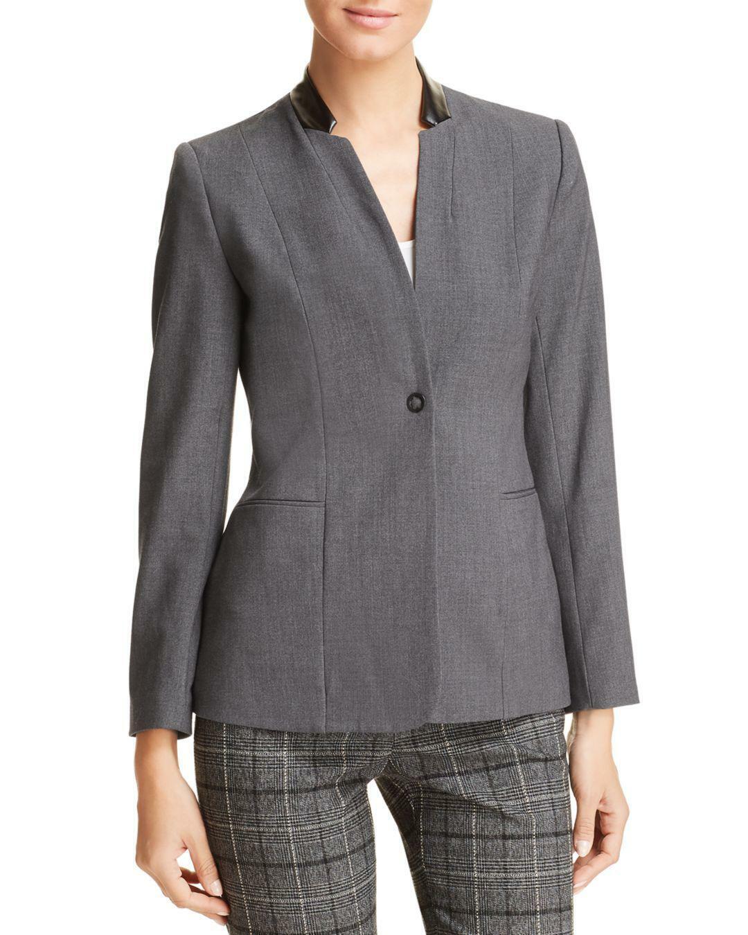 NWT T Tahari Womens Charcoal Faux Leather Trim Blazer size 8