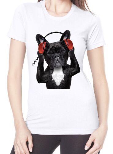 Bulldogs Funny Gift Present Dog French Bulldog DJ Funny Women/'s T-Shirt