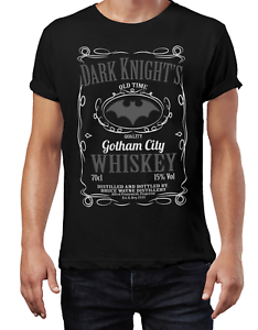 Men/'s Batman T-Shirt Gotham City Mash Up Tee ShirtDARK KNIGHT WHISKEY