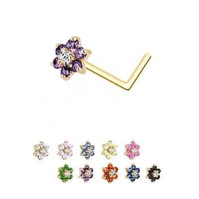 14KT White Gold L Bend Nose Ring 4.5mm Flower CZ CHOOSE YOUR COLOR 18G 20G 22G