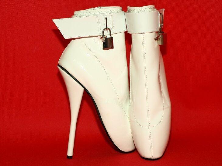 BIANCO Cuoio Ballet Stivali Taglia 1251 7-12 heels-8,0