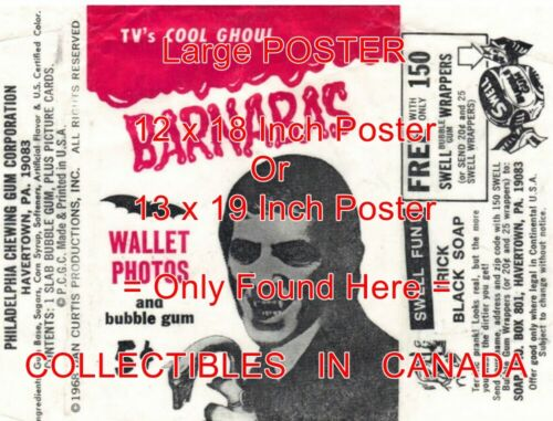 """DARK SHADOWS 1968 Barnabas CANE = POSTER Not Wax Pack Wrapper 2 SIZES 18/"""" or 19/"""""""